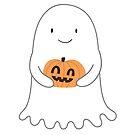 « fantôme mignon avec un autocollant citrouille » par michellelobelia