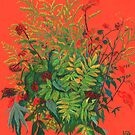 Autumn floral, rowan leaves, elder berries and goldenrod by clipsocallipso