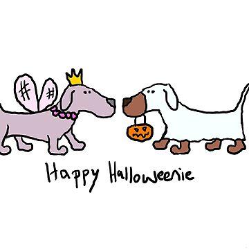 Happy Halloweenie Halloween Dachshunds by MoPaws