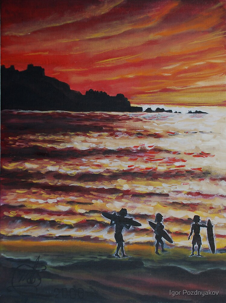 Oil Painting - Surfers in Pacifica, California, 2008 by Igor Pozdnyakov