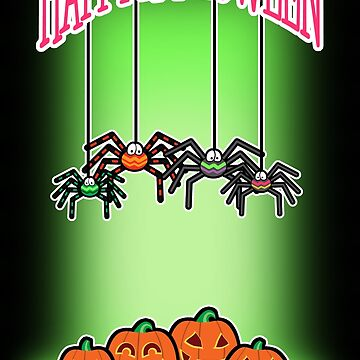 Spiders and Pumpkins Halloween Card by SquareDog