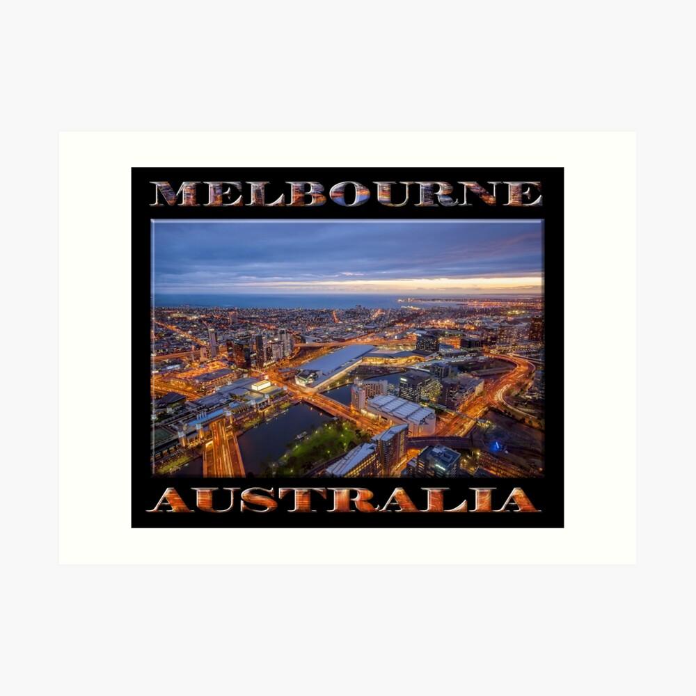 Stunning Melbourne (poster on black) Art Print
