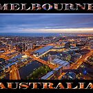 Stunning Melbourne (poster on black) by Ray Warren