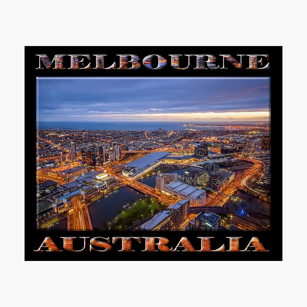 Stunning Melbourne (poster on black) Photographic Print