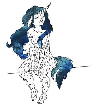 Unicorn girl with ocean hair by unicornisis