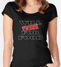 Will Twerk For Food Women's Fitted Scoop T-Shirt