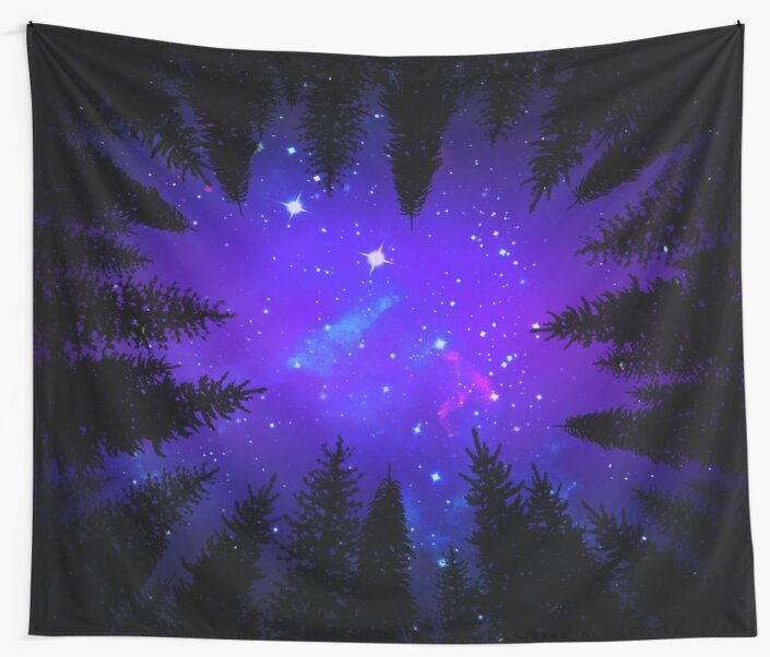 Magical Forest Galaxy Night Sky by julieerindesign