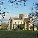 St Cross Church, Winchester, southern England, from the south-west across the meadows by Philip Mitchell