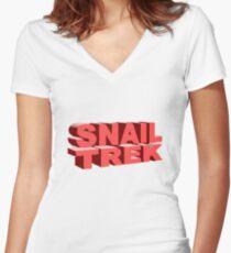 Snail Trek Red Logo Women's Fitted V-Neck T-Shirt