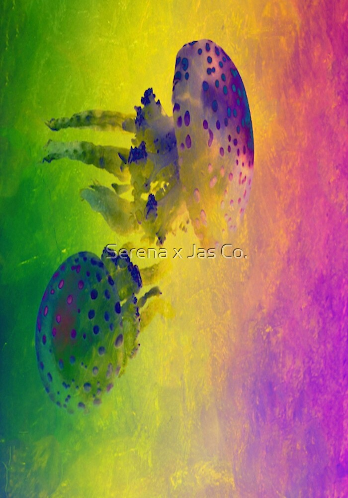 Two Squids with Green, Yellow and Purple Background by Bon Stuff  Inc.