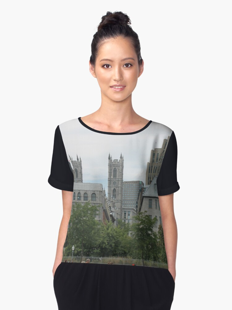 City, skyline, architecture, building, downtown, urban, cityscape, skyscraper, buildings, panorama, sky, business, park, view Women's Chiffon Top Front