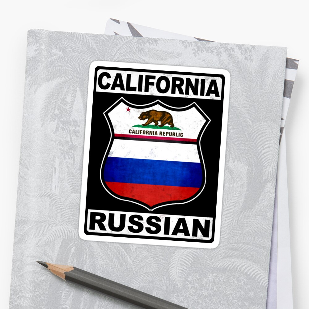 California Russian Road Sign Sticker Front