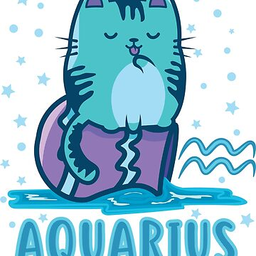 Aquarius Kitty Cat Zodiac February Birthday Astrology Gift by Top10Merch