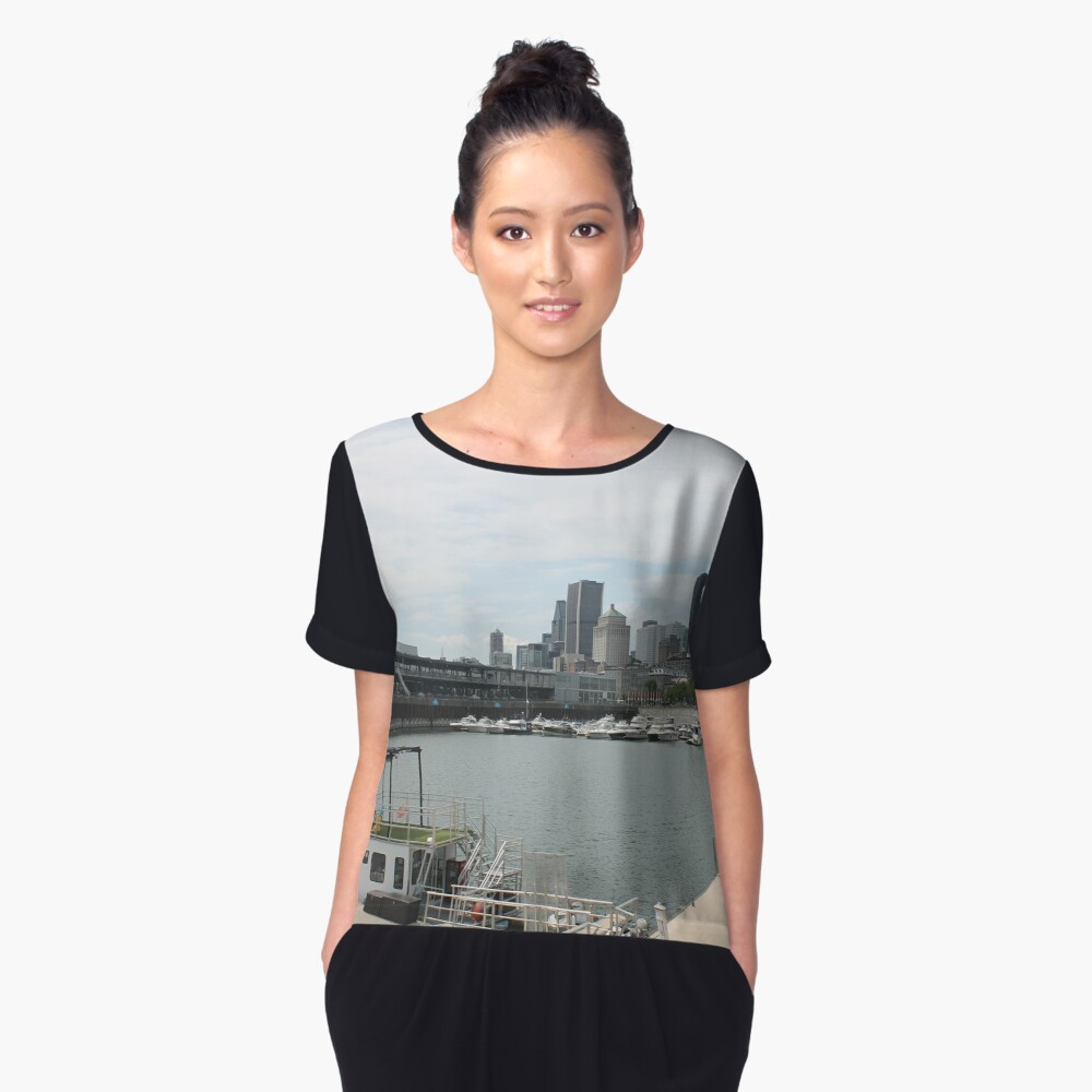 City, skyline, water, architecture, river, buildings, cityscape, building, sky, panorama, sea, urban, blue, view, downtown, landscape Women's Chiffon Top Front