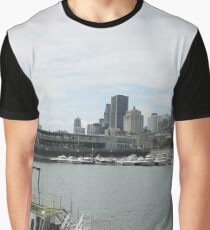 City, skyline, water, architecture, river, buildings, cityscape, building, sky, panorama, sea, urban, blue, view, downtown, landscape Graphic T-Shirt