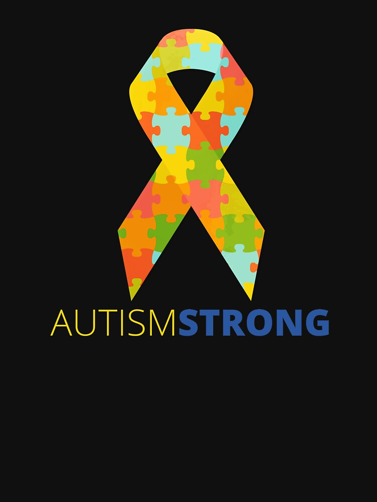 Autism Strong Ribbon Puzzle Piece Support by ZippyThread