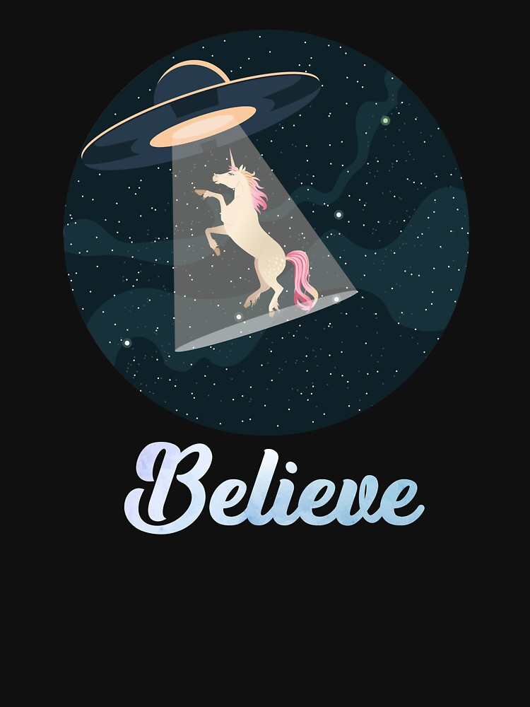 Believe Unicorn abduction by UFO in Space by ZippyThread