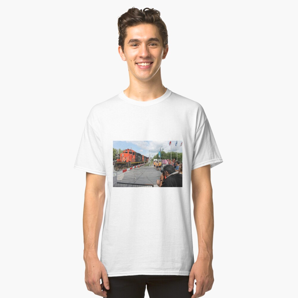 #Train, #railway, #railroad, #locomotive, #station, #transportation, #transport, #rail, #travel, #track, #engine, #diesel, #red, #platform, #old, #steam, #traffic Classic T-Shirt Front