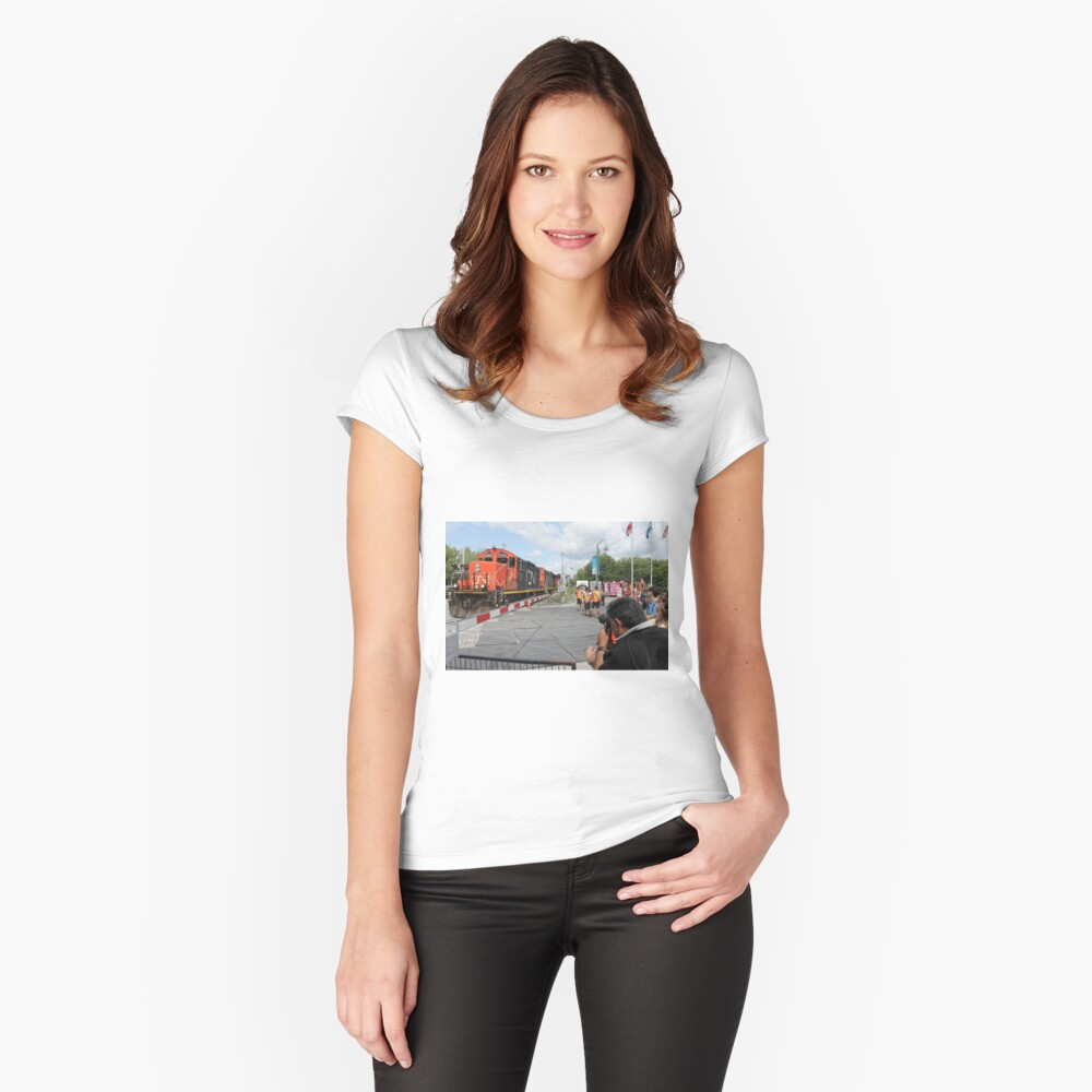 #Train, #railway, #railroad, #locomotive, #station, #transportation, #transport, #rail, #travel, #track, #engine, #diesel, #red, #platform, #old, #steam, #traffic Women's Fitted Scoop T-Shirt Front