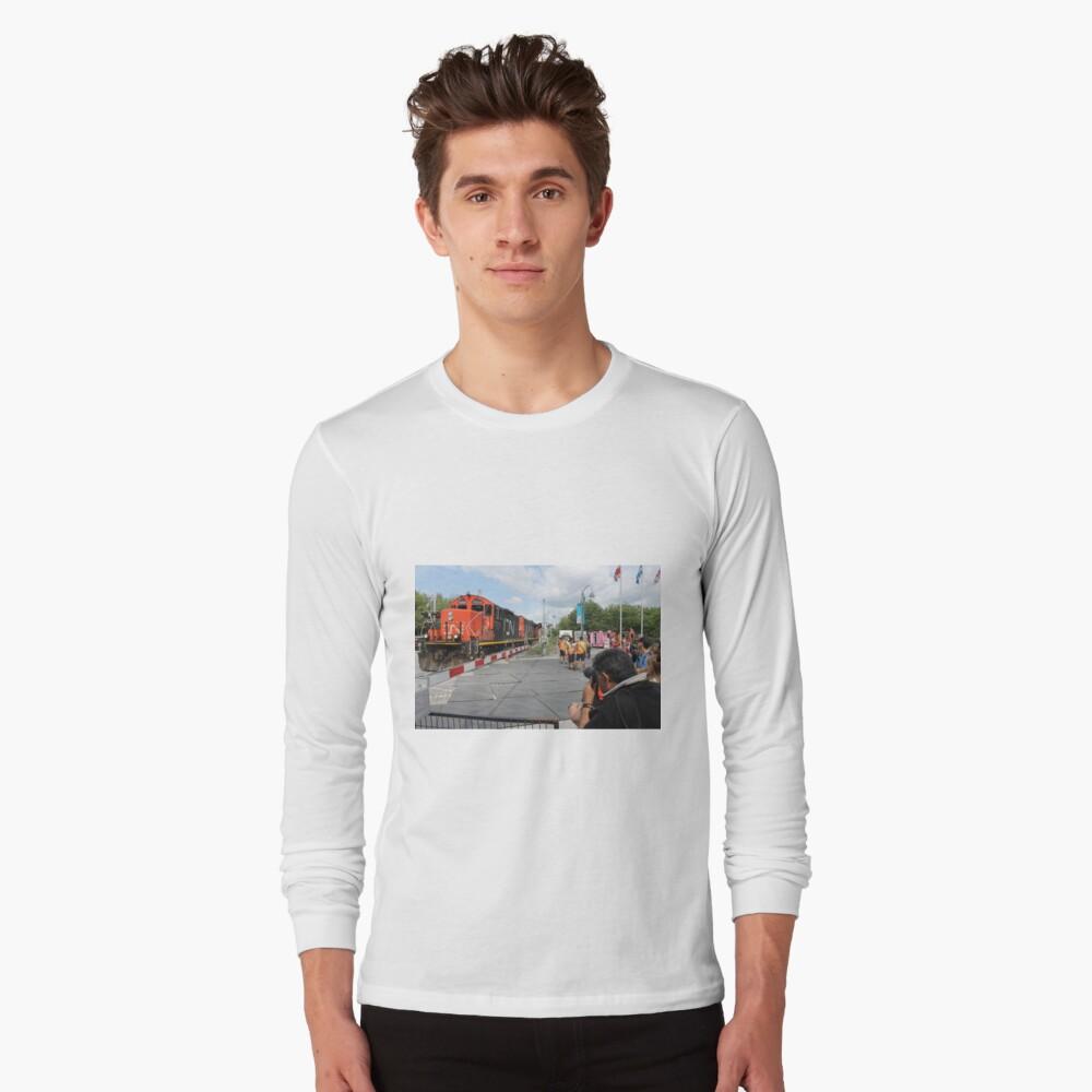 #Train, #railway, #railroad, #locomotive, #station, #transportation, #transport, #rail, #travel, #track, #engine, #diesel, #red, #platform, #old, #steam, #traffic Long Sleeve T-Shirt Front