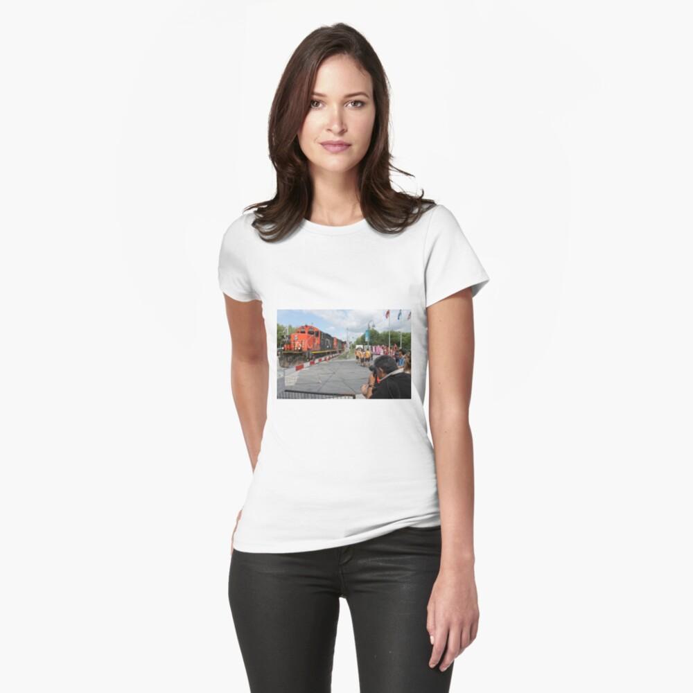 #Train, #railway, #railroad, #locomotive, #station, #transportation, #transport, #rail, #travel, #track, #engine, #diesel, #red, #platform, #old, #steam, #traffic Women's T-Shirt Front