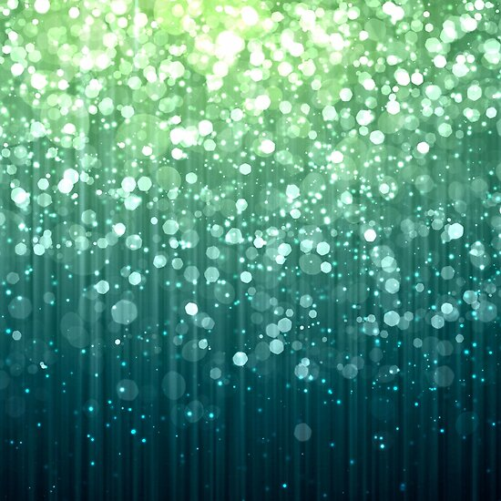 Spring Teal Green Bokeh Sparkles by Glimmersmith
