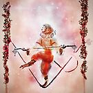 Tightrope Walking Circus Monkey  With Watercolor Flower Garlands and a Pink Galaxy Sky by Monica Michelle