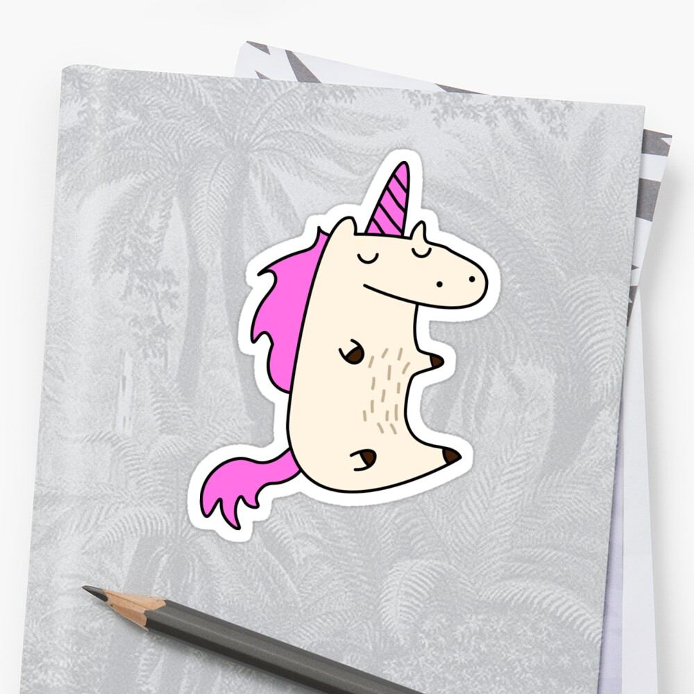 Unicorn With Pink Hair Sticker Front