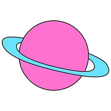 Blue Pink Planet With Rings by SusurrationStud