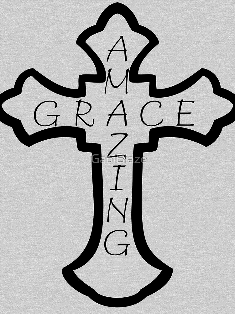 Amazing Grace Cross Christian Ornamental Criss Word Art Design Graphic Black by GabiBlaze
