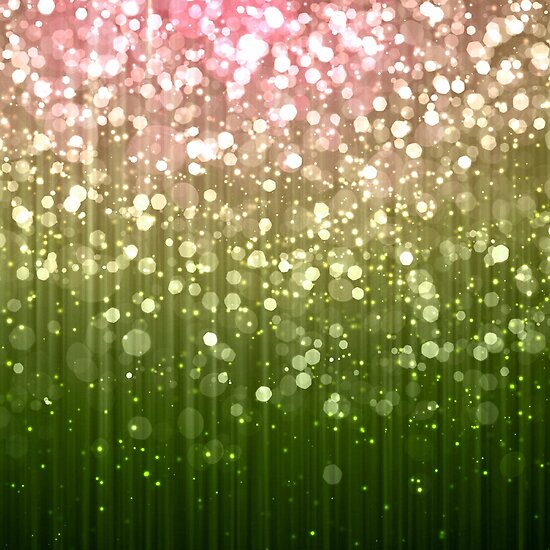 Summer Sparkles Pink and Green Bokeh by Glimmersmith
