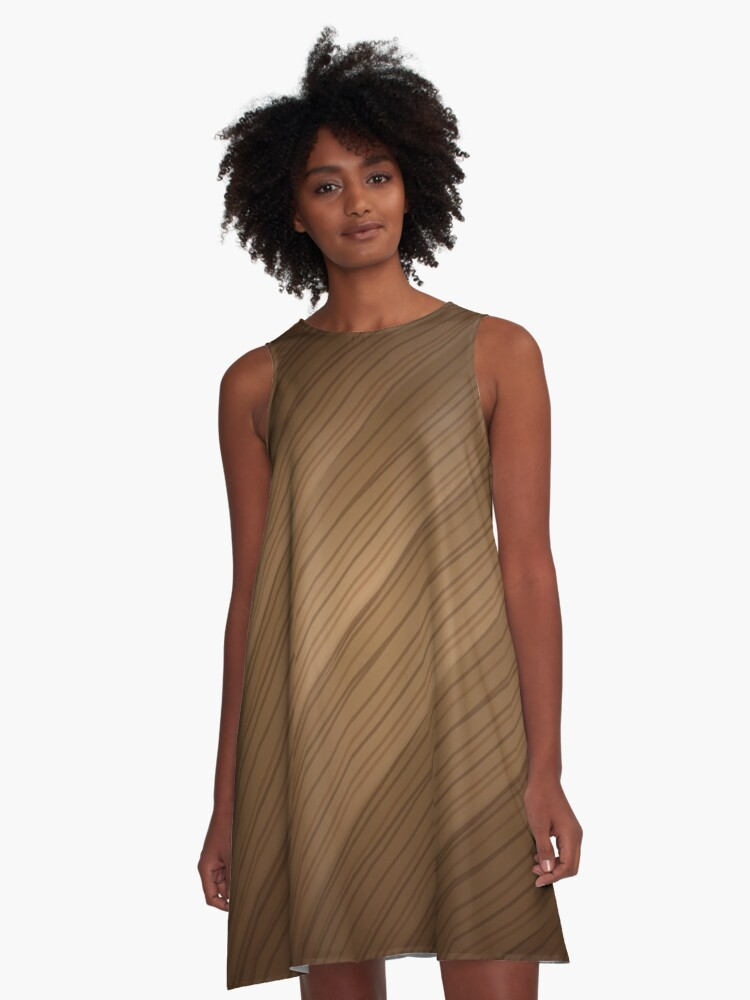 Slanted Texture On Wood A-Line Dress Front