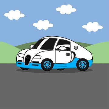 Italian Hyper Car Cartoon (White & Blue) by nutandbolt