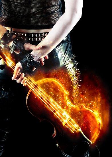 Flaming Violin by Rebecca  Tregear