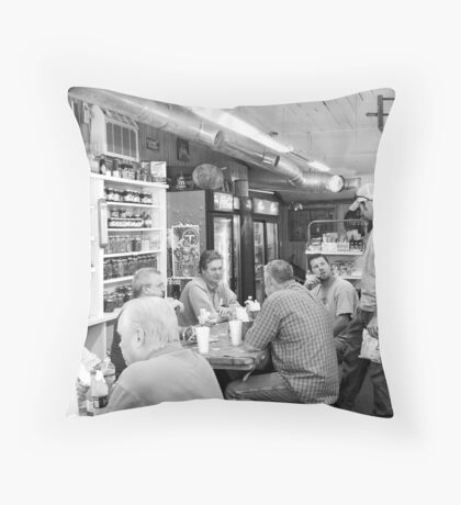 Eating Lunch at Depot Bottom Country Store Throw Pillow