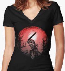 Sunset Glow Berserk Women's Fitted V-Neck T-Shirt