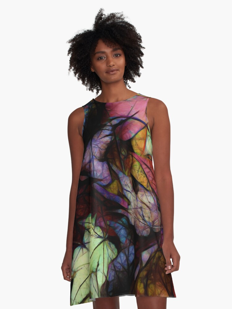 Fall Leaves Abstract A-Line Dress Front