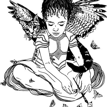 Moth Girl and Winged Cat by Inklining