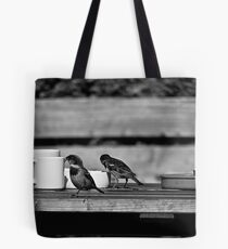 Sparrows at Tea-Time Tote Bag