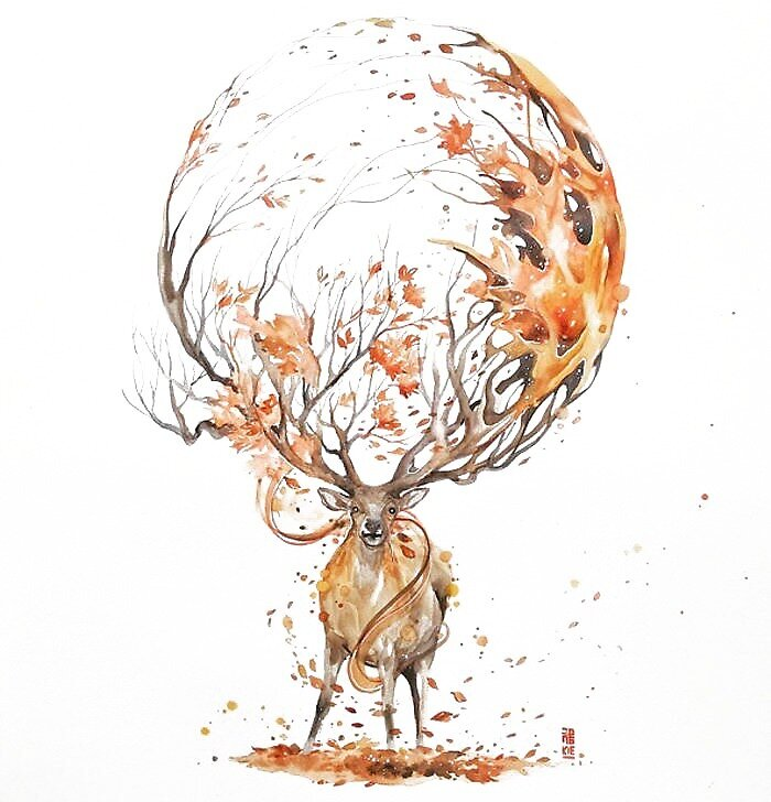 Autumn Design Deer by joulle