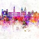 Adelaide V2 skyline in watercolor background by paulrommer