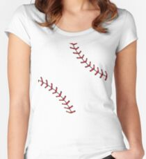Baseball Lace Background 5 Fitted Scoop T-Shirt