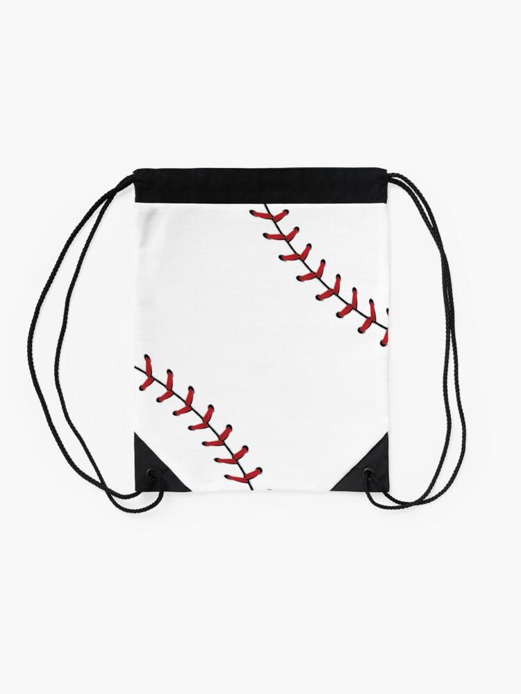 Alternate view of Baseball Lace Background 5 Drawstring Bag