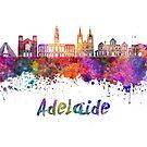 Adelaide V2 skyline in watercolor by paulrommer