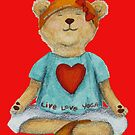 Live Love Yoga  with Yoga Bear in Meditation  by Monica Batiste