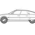 Citroen CX GTI Turbo 2 Classic Car Outline Artwork by RJWautographics