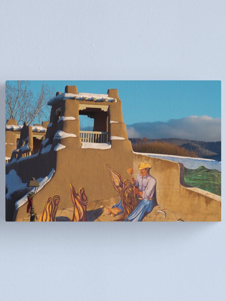 Alternate view of Adobe Art Meets Taos Skies Canvas Print