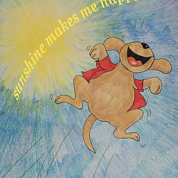 Sunshine makes me happy with Puppy Leaping for Joy by MonicaArtist