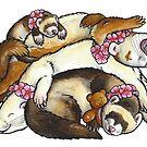 Sleeping ferret pile by animalartbyjess