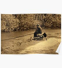 Angler on Sankey Valley Canal Poster